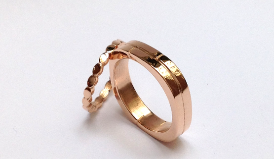 wedding bands: A woman's and a man's wedding band in pink gold, made in Paris and designed by the jewellery designer, Annette Girardon.