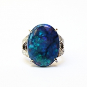 This custom-made Paris ring, by Annette Girardon, features a black Australian opal, whose deep blue, multifaceted blue resembles an ocean. The jeweller is based in Paris.