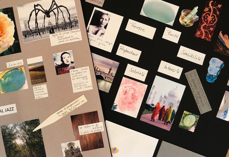 Des mood-board sont crées par Annette Girardon, suite à son atelier révélation, une technique inventée par la créatrice du bijou sur-mesure pour ses clients qui recherchent un bijou unique, à Paris.