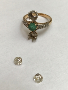 Example of jewelry transformation: The two diamonds were recovered on an old ring, in order to reassemble the stones on a new ring, created by the jeweller Annette Girardon.