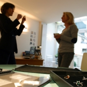 Discussion about a new creation of custom-made jewellery in Paris by Annette Girardon, in her workshop in Paris, in the jewellers' district, around the Place Vendôme.