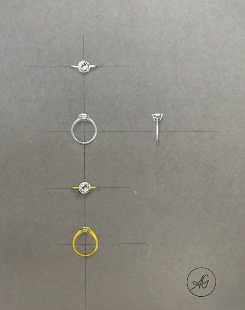 Gouached-jewellery drawing of a solitaire in white or yellow gold for a diamond, brought by the customer, to be mounted in a ring by the plastic jeweller Annette Girardon in Paris.