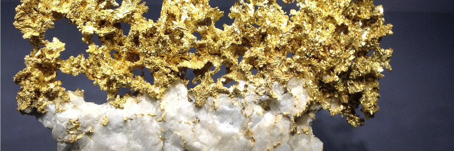 This photo shows gold, exhibited in the mineral gallery of the Natural History Museum in Paris.