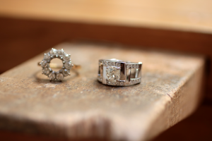 This is a transformation of jewellery made in Paris. The diamond recovered from an old ring has been mounted in a  an original and contemporary ring design.