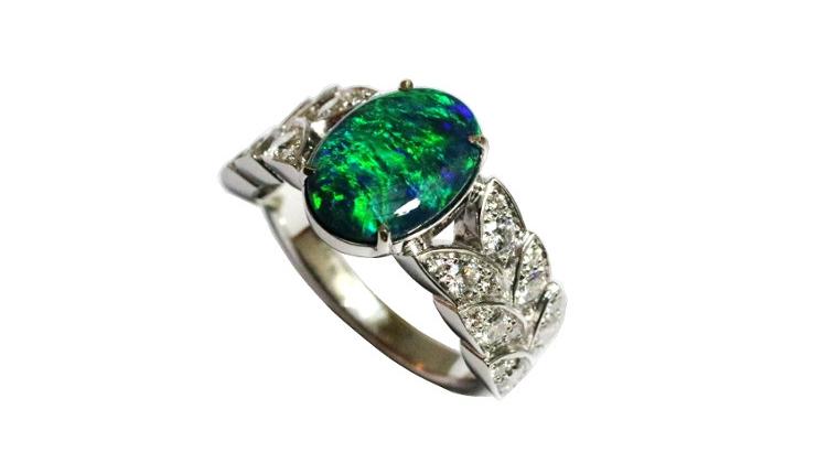 Australian black opal ring in white gold