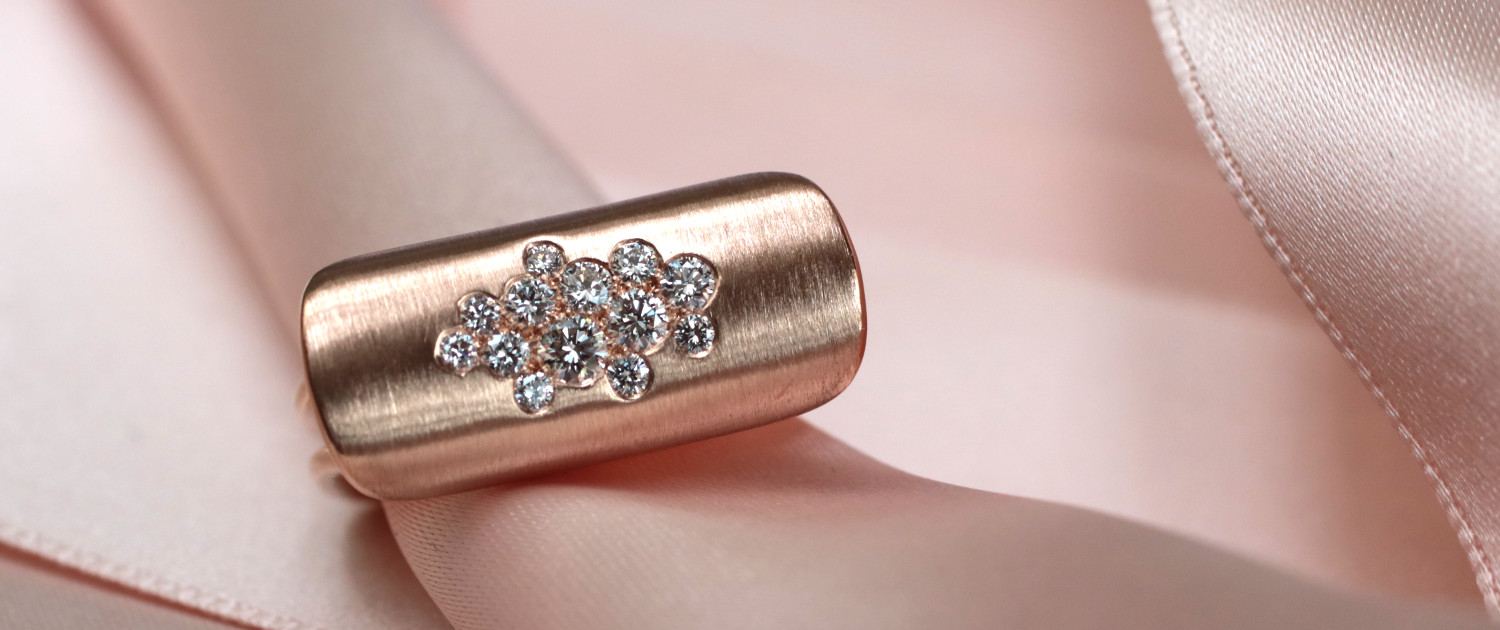 Rosegold ring with diamonds, designed by Annette Girardon, Paris