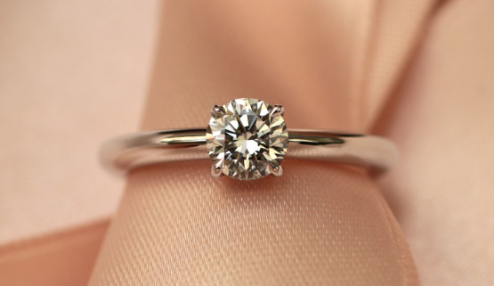 Solitaire engagement ring crafted in white gold adorned with a 0.45 carat diamond
